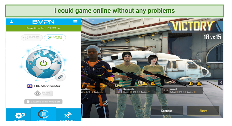 Screenshot showing PUBG being played while connected to bVPN's UK server