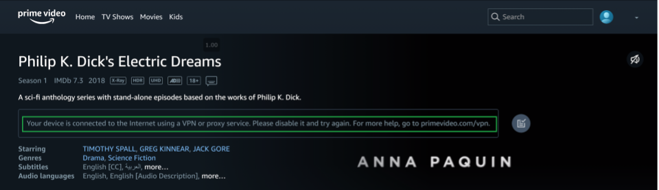A screenshot showing Amazon Prime Video's VPN or proxy error message while trying to use BoxPN to watch Philip L. Dick's Electric Dreams.