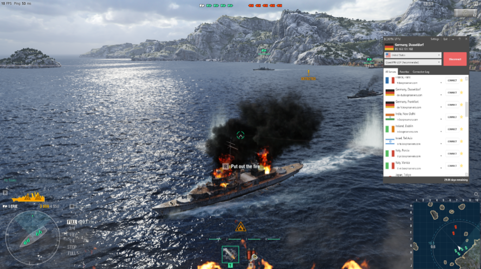 A screenshot of BoxPN working with World of Warships, showing that the VPN is fast enough for lightweight gaming.