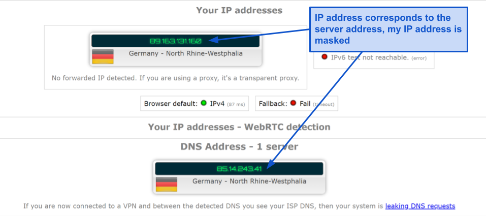 A screenshot of leak test results for BoxPN, demonstrating that the VPN does not have any IP, RTC, or DNS leaks.