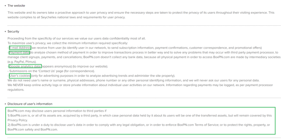 A screenshot of BoxPN's privacy policy, with highlights showing that the VPN does log some of your information.