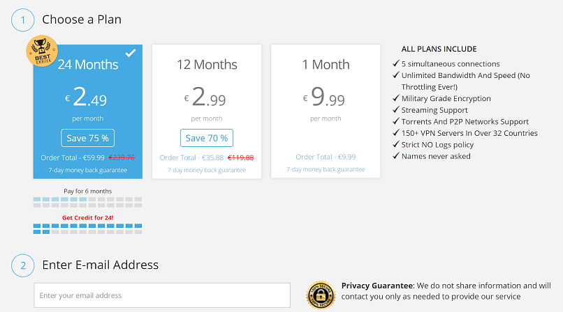 A screenshot of BoxPN VPN's different plans and prices.