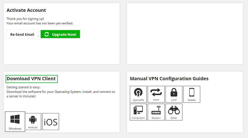 A screenshot of BoxPN VPN's website, showing how to download the VPN cilent and where to find configuration guides.