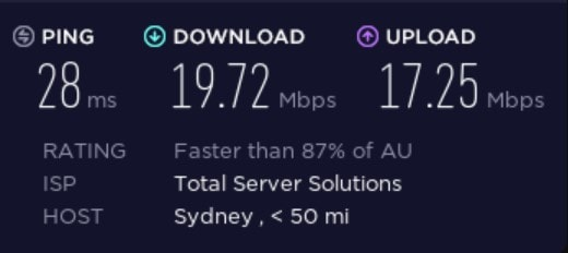 Speed test on a BullGuard server in Australia.