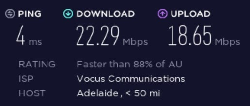 Speed test before connecting to a BullGuard server.