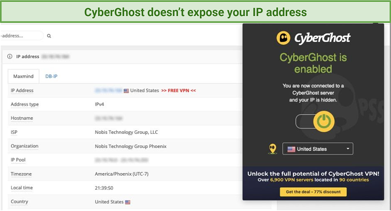 Screenshot of IP and DNS test and CyberGhost Firefox addon UI
