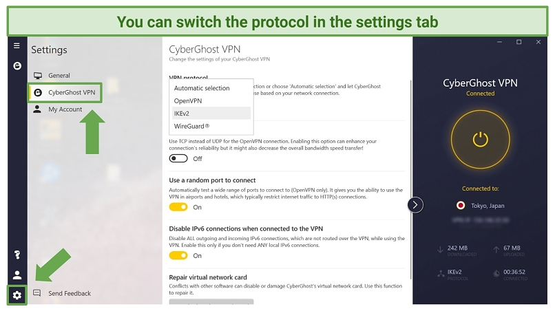 Screenshot of CyberGhost app showing where to switch VPN protocol