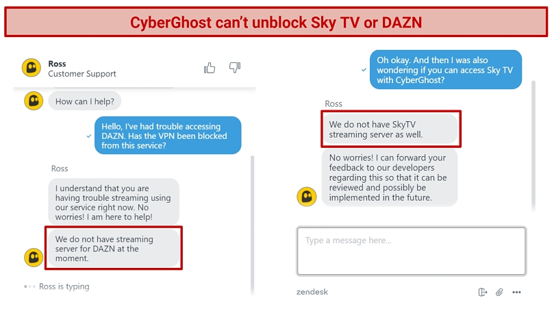 Screenshot of chat with CyberGhost live support about being unable to unblock Sky TV or DAZN