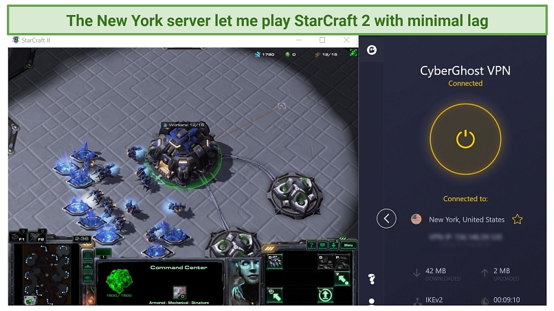 Screenshot of StarCraft 2 being played while connected to CyberGhost's New York server