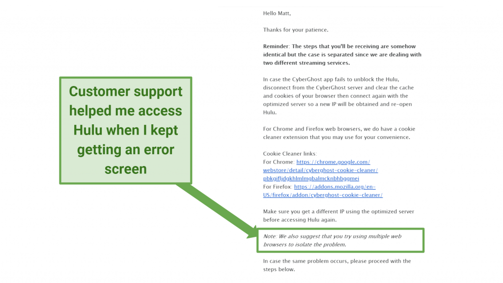 Screenshot of an email sent to me by the CyberGhost support staff troubleshooting problems connecting to Hulu