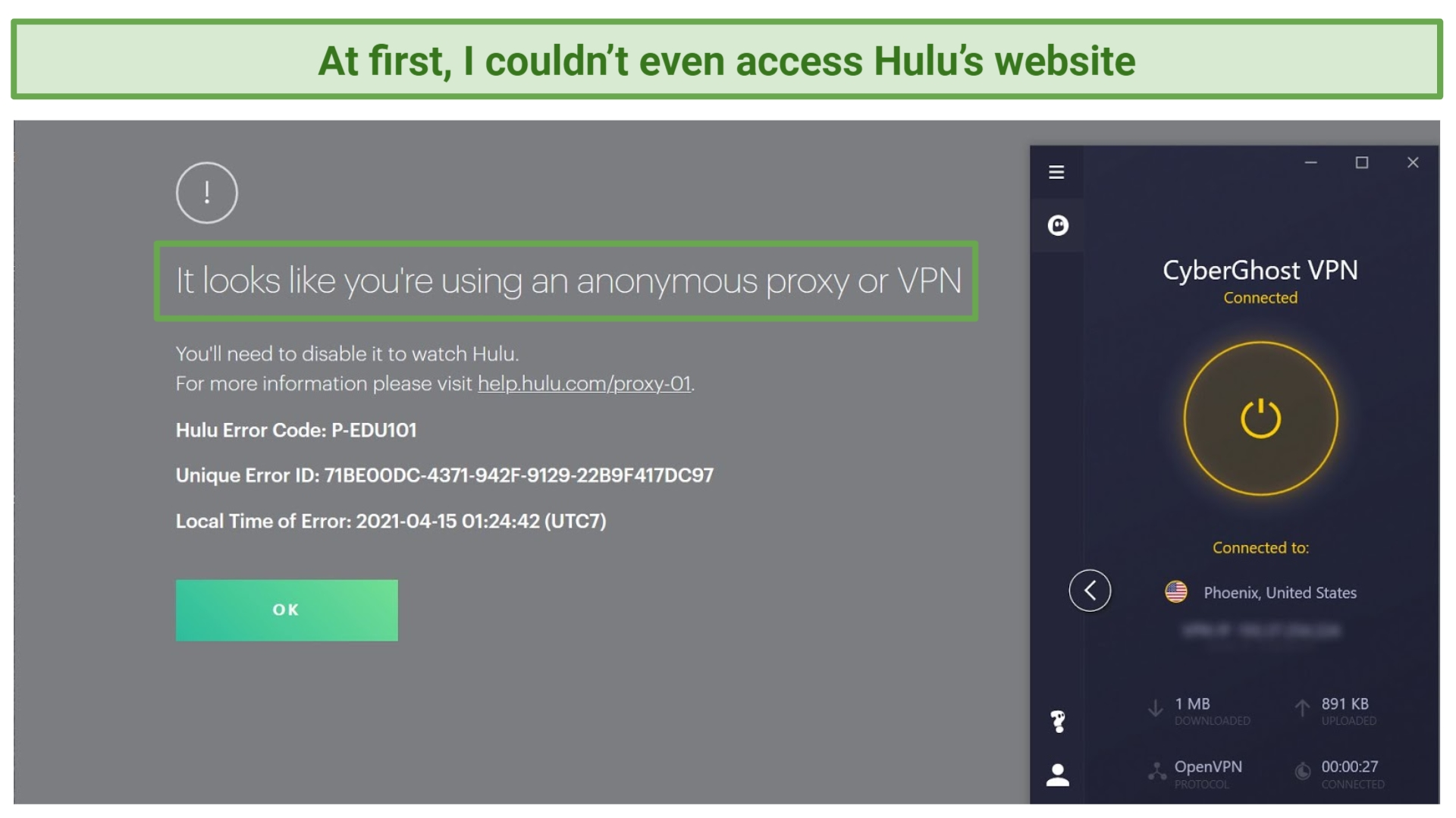 Screenshot of error screen when trying to access Hulu with CyberGhost