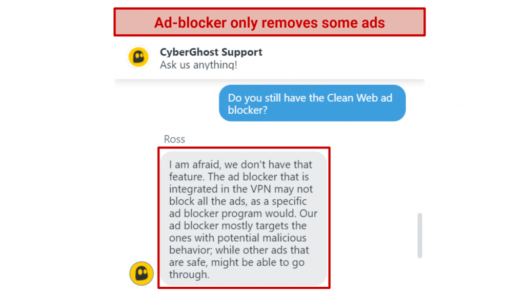 Screenshot of live chat with CyberGhost support agent telling me their ad-blocker only removes malicious content