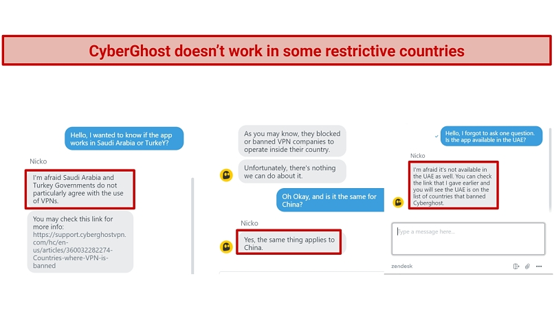 Screenshot of CyberGhost live chat that explains Saudi Arabia, Turkey, and China have been banned