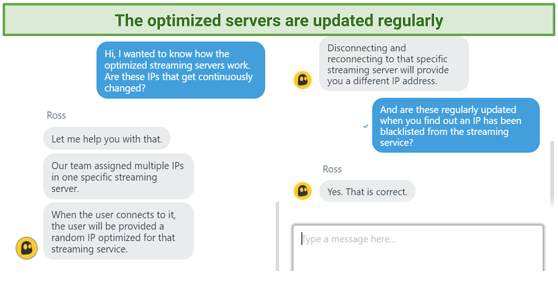 Screenshot of chat with support agent explaining how optimized servers work