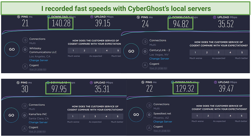 CyberGhost Alt Text: Screenshot of speed tests done with 4 local CyberGhost servers: Las Vegas, San Francisco, Los Angeles, and Phoenix