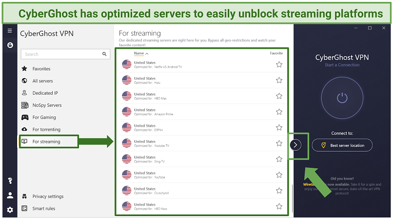 Screenshot of optimized servers in the CyberGhost app