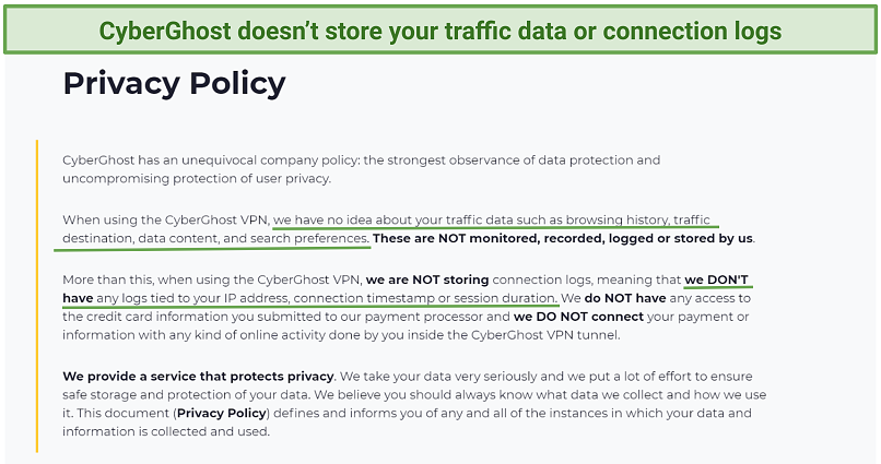 Screenshot of the Privacy Policy on CyberGhost's website