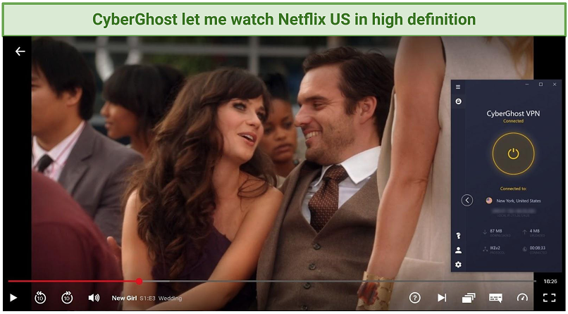 Screenshot of Netflix Player streaming The New Girl unblocked by CyberGhost