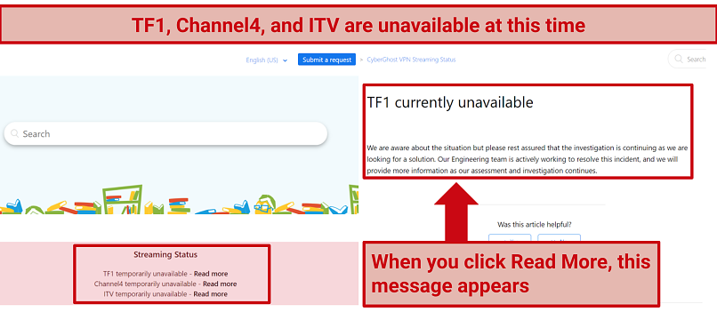 Screenshot of CyberGhost webpages explaining why TF1, Channel4, and ITV are unavailable