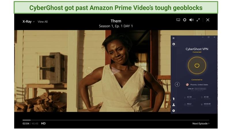 Screenshot of CyberGhost unblocking Amazon Video Player streaming Them