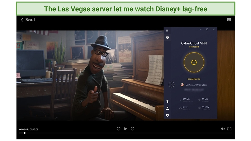 Screenshot of Disney Plus player streaming Soul unblocked with CyberGhost