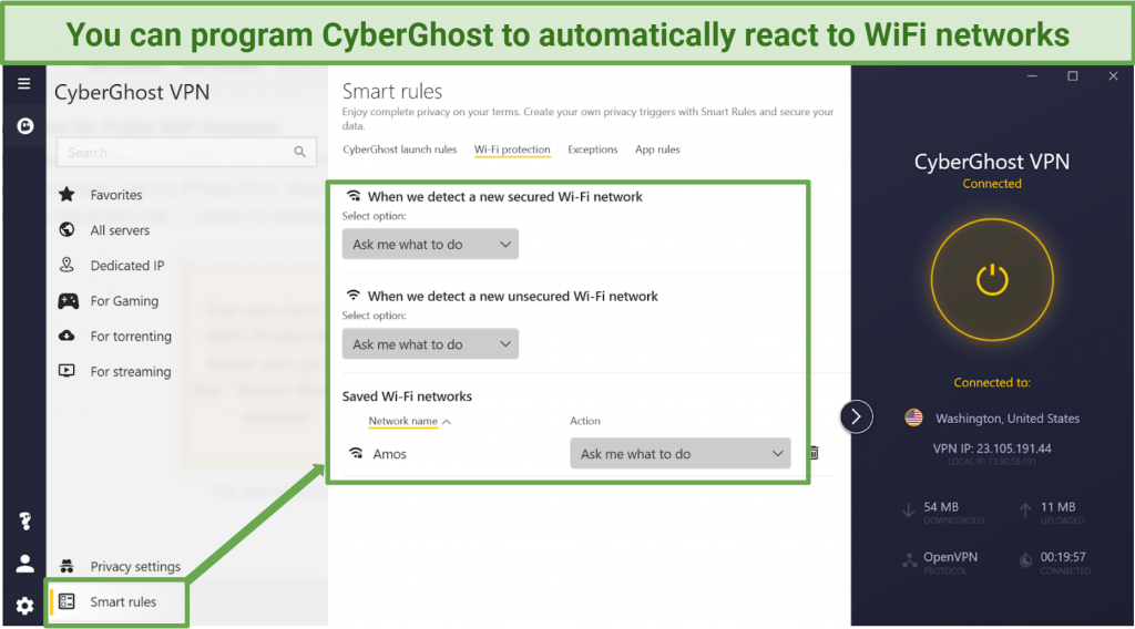 Screenshot of where to find WiFi protection in CyberGhost app