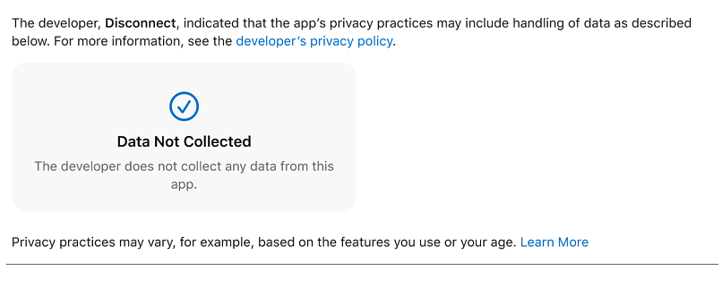 A screenshot of Disconnect VPN's App Store page