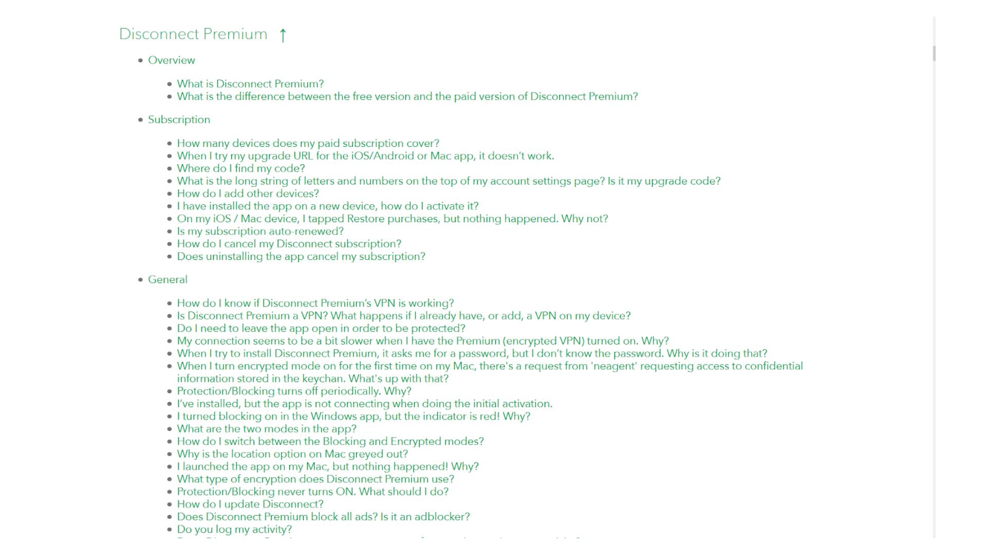 A screenshot of Disconnect VPN's FAQ page
