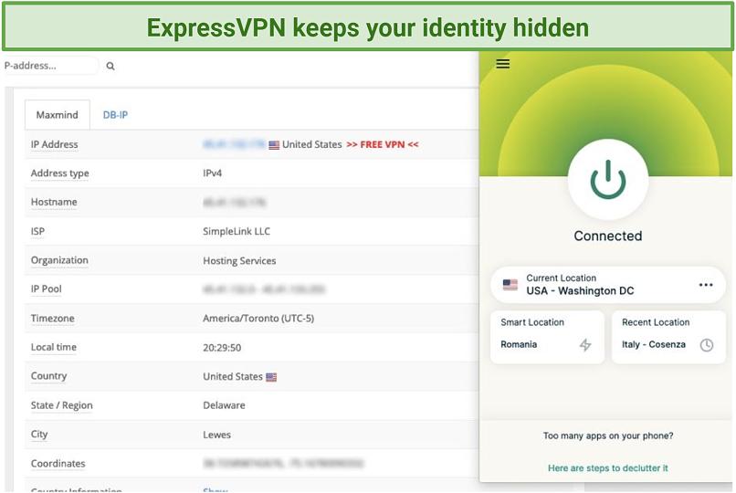 Screenshot of IP Leak test and ExpressVPN's Mozilla Firefox addon