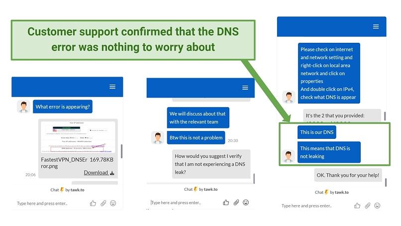 Screenshot showing FastestVPN customer support confirming DNS error was not a leak