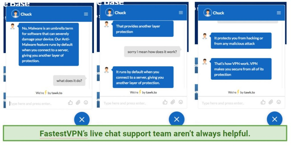 A screenshot of a conversation with FastestVPN's 24/7 live chat support.