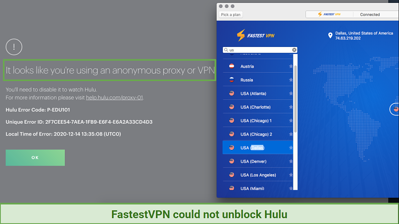 A screenshot showing FastestVPN being blocked by Hulu's anti-proxy and VPN software.