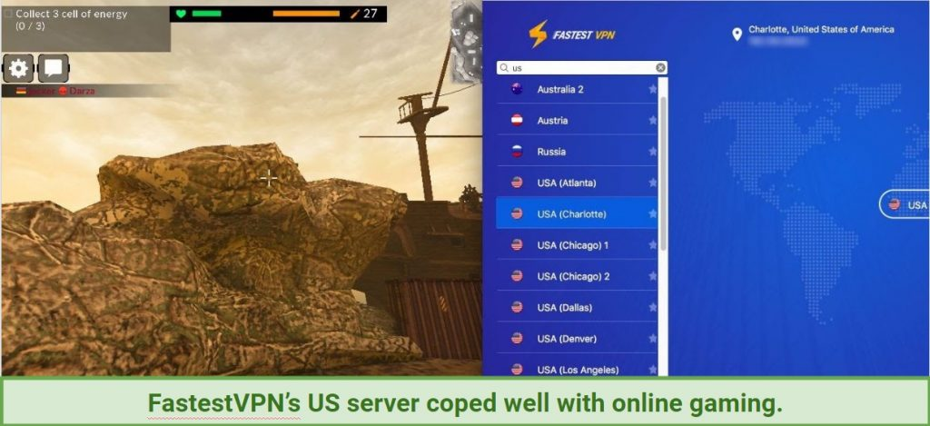 A screenshot showing FastestVPN working with online gaming.