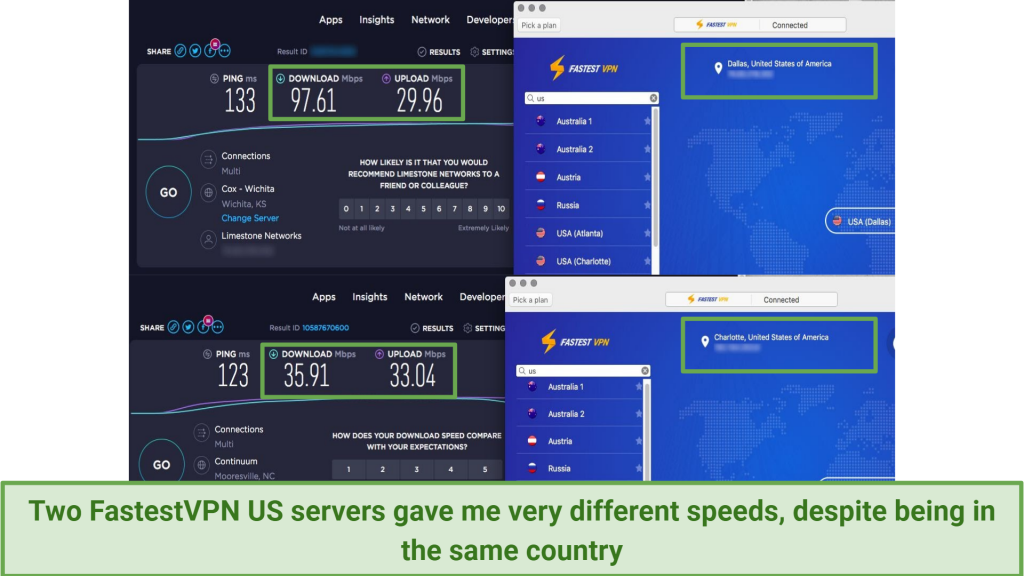 A screen shot showing speed test inconsistencies for FastestVPN servers in the US.