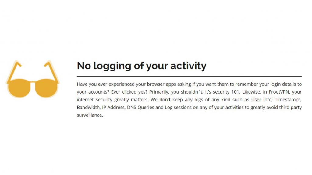 A screenshot of FrootVPN's logging policy