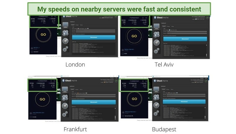 A series of screenshots showing speed test results for local servers on Ghost Path VPN.