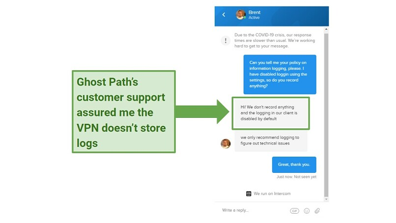 A screenshot of Ghost Path's live chat, with a customer support agent saying that the VPN doesn't store any logs.