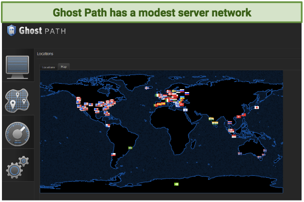 A screenshot of Ghost Path's server map, showing all of its server locations.