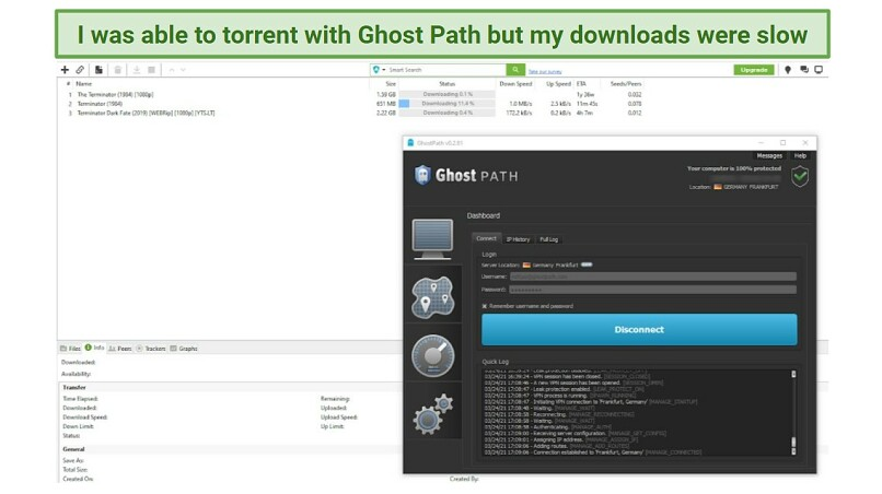 A screenshot of Ghost Path VPN with uTorrent in the background, showing that the VPN supports torrenting.