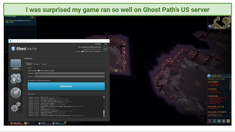 A screenshot of Ghost Path overlaid on the game RuneScape, showing that the VPN is fast enough for streaming on local servers.