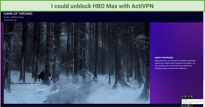 screenshot of HBO Max player unblocked by ActiVPN