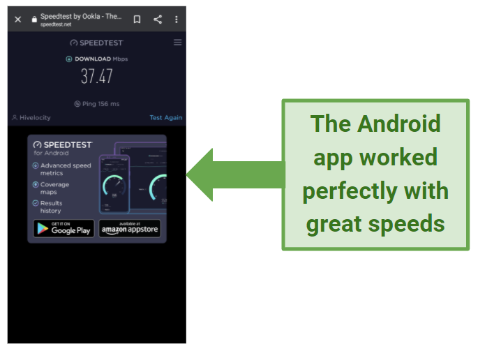 Screenshot showing Android phone with high speeds after connecting to a Hide My IP server in the US