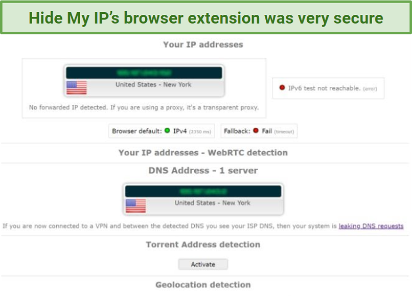 Screenshot showing hidden IP and no leaks after connecting to a Hide My IP server in the US in the browser extension