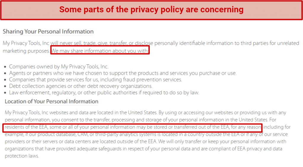 Screenshot showing Hide My IP's questionable privacy policy