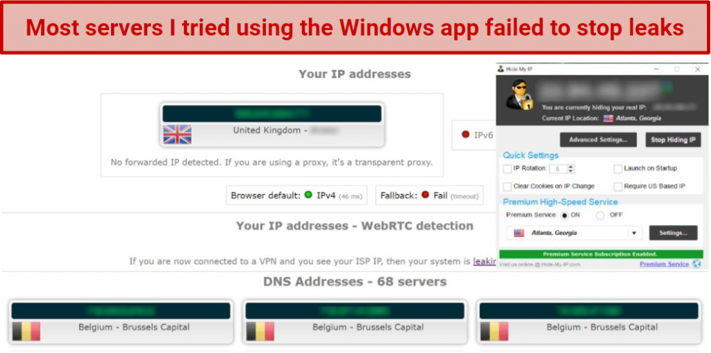 Screenshot showing privacy leaks after connecting to a Hide My IP server in the US using the Windows app