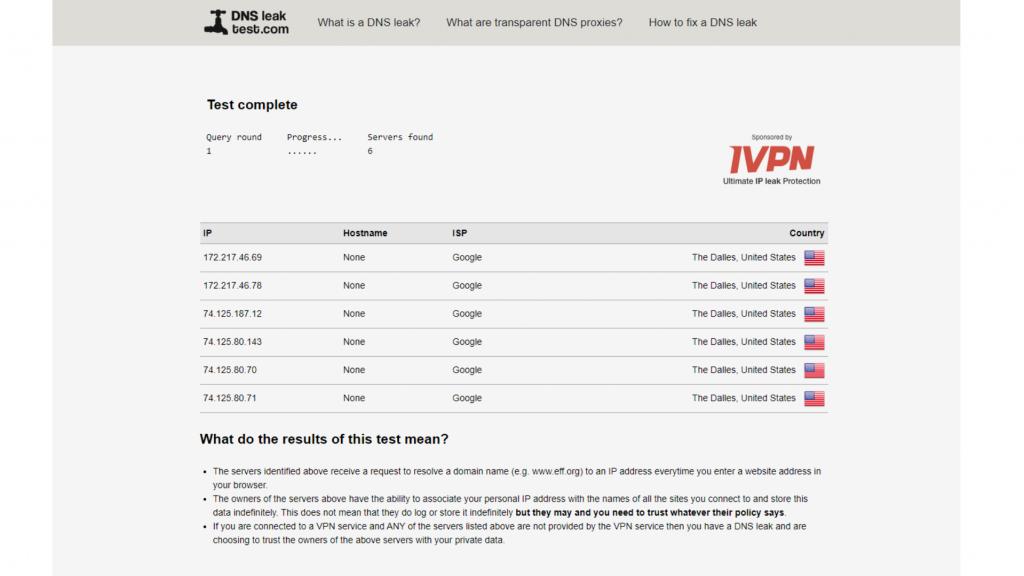 A screenshot of HideIPVPN passing DNS leak tests.