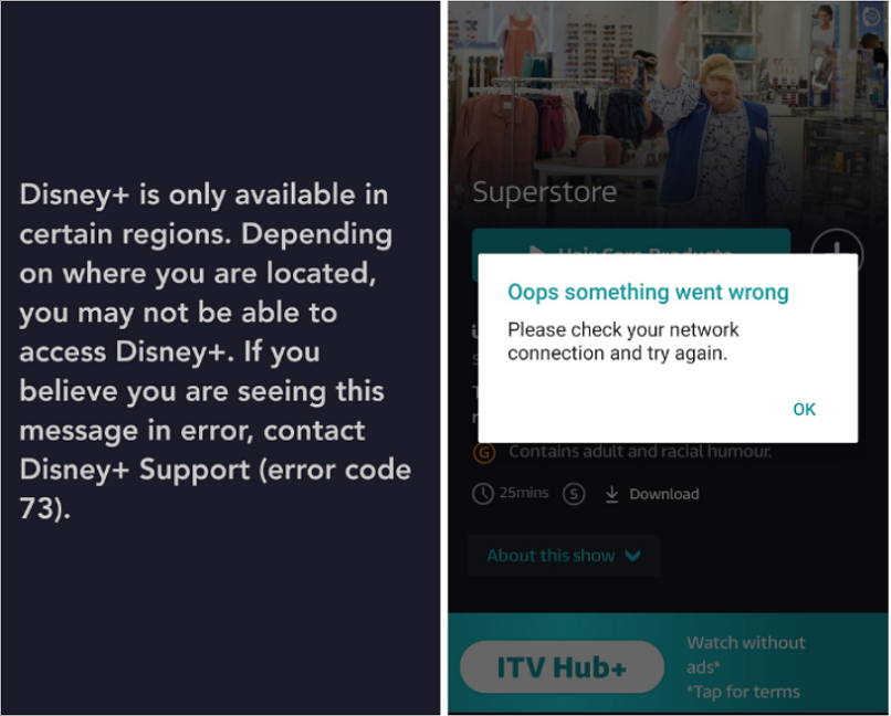 A screenshot of HideIPVPN being unable to unblock to Disney+ and ITV.