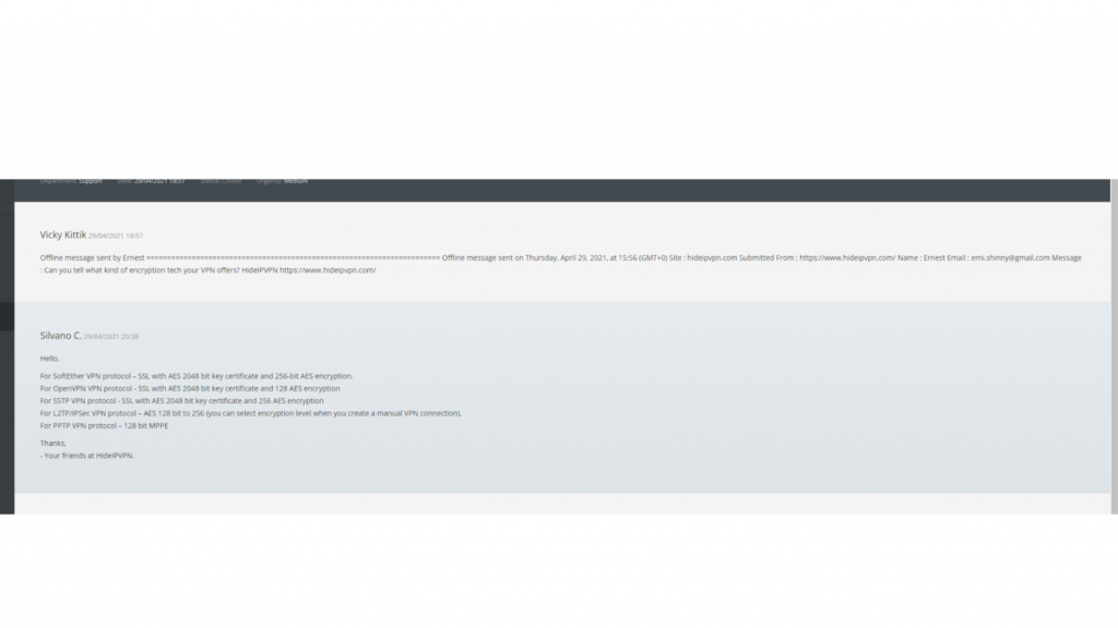 A screenshot of HideIPVPN's customer support email.