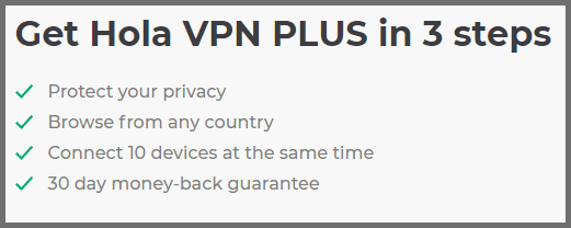 Screenshot of the Hola VPN Plus plan