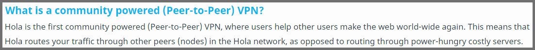 Screenshot of Hola's Peer-to-peer VPN explanation